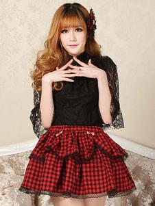 Lolita clássico SK arco laço plissado vermelho Lolita saia