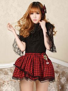 Clássico Lolita SK Lace Trim Checkered Bow Plissado Lolita Saia Vermelha
