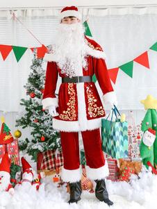 Natal Papai Noel Traje Homens Top Calças Barba Chapéu Cape Sash Shoe Capa Outfit 7 Peça Halloween