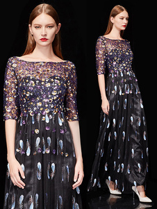 Черные вечерние платья Перья с половиной рукавом Sequin Формальное платье