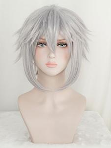 Королевство сердец парик косплей Рику светло-серый парик пропустить волосы Хэллоуин