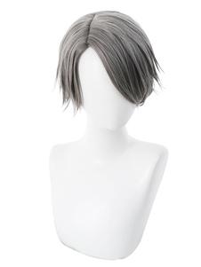 Аниме мальчик хэллоуин косплей парик короткий серый парик