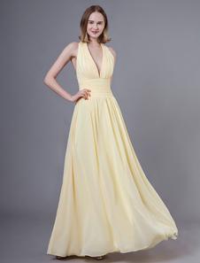 Платья для выпускного вечера Длинные Нарциссы Холтер V-образным вырезом без спинки шифон Длина пола Свадебное платье невесты