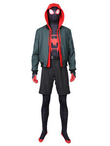 Spider Man Into The Spider Verse Miles Morales Movie Spider Man Costume cosplay di Halloween