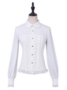 Clássico Lolita Blusas Ruffles Lace Lolita Top Mangas Compridas Top Branco Camisa Lolita