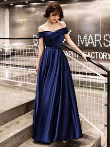 Vestidos de noche fuera del hombro Vestido de fiesta Largo Satén Maxi Vestidos formales