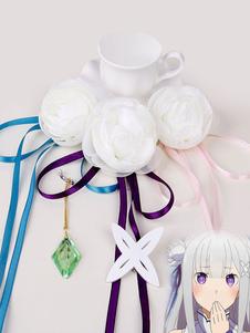 Carnaval Rezero comienza la vida en otro mundo Cosplay de Halloween Emilia Headwear