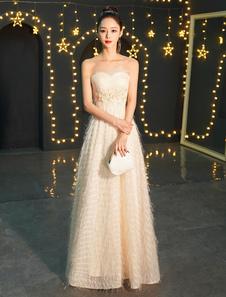 Vestidos de noche 2020 Champán Vestido largo de fiesta Apliques sin tirantes maxi Vestidos formales