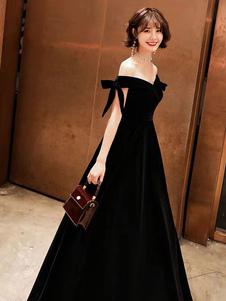 Vestidos de fiesta 2020 Terciopelo Hombro abierto Longitud del piso Vestidos negros formales