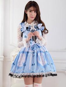 الكلاسيكية لوليتا JSK اللباس الضوء السماء الزرقاء ربط الحذاء حتى الانحناء لوليتا البلوز التنانير