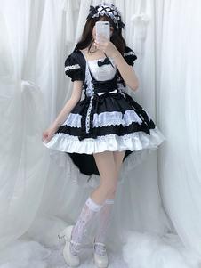 lolita OP dress Maid Two-Tone Black Ruffles Lolita Abiti monoblocco