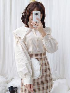 Классическая блузка с длинным рукавом из лолиты с вышивкой из искусственного меха