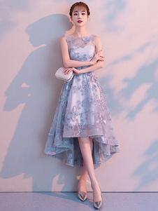 Коктейльные платья с кружевом Асимметричное вечернее платье