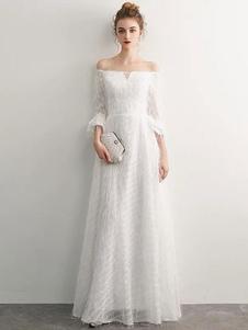 Белые вечерние платья с длинным рукавом с длинным рукавом вечерние платья