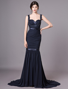 Evening Dresses Dark Navy Prom Vestido Correias Applique Beaded Recorte Ruched Vestidos Formais Com Trem