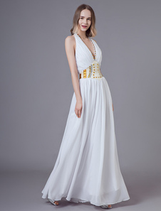 Vestidos De Baile Branco Halter Mergulhando V Neck Backless Frisado Maxi Vestido De Noite Formal