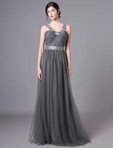 O baile de finalistas do vestido longo do cinza das correias do tule do vestido do baile de finalistas bordou o vestido formal