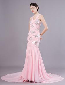 Bela sereia rosa chiffon lantejoulas decote em v tribunal treinar vestido de baile Milanoo