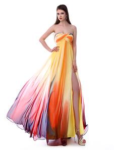 Long Prom Dresses 2020 Africano Imprimir Vestido de Baile Sem Alças Backless Floral Imprimir Alta Dividir Chiffon Vestido de Festa Milanoo