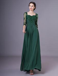 A linha verde escuro querida pescoço Applique Chiffon mãe vestido nupcial com mangas meia