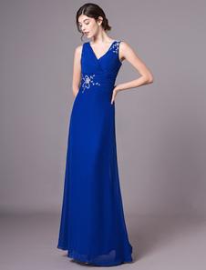 Vestidos De Noite Azul Royal V Neck Chiffon Beading Maxi Plissado Mãe Do Vestido Da Noiva