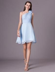 Chiffon vestido de dama de honra azul bebê um ombro na altura do joelho flores vestido de baile