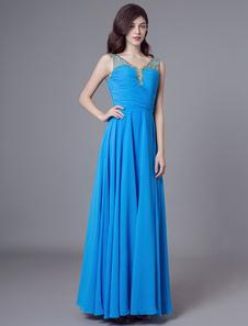 Синие вечерние платья Шифон Бисероплетение Длинные платья выпускного вечера V шеи Макси вечерние платья