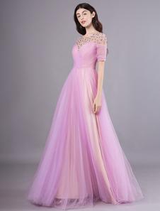 Uma linha lilás tule beading jóia do pescoço até o chão vestido de noite Milanoo