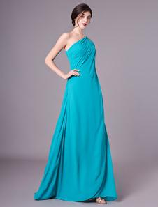 Vestido de noite de chiffon de um ombro longo vestido de baile Aqua cascade plissado comprimento do assoalho vestido formal