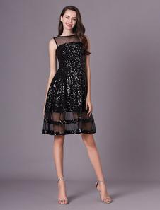 Convidado de casamento vestido preto ilusão de lantejoulas vestido de festa curta
