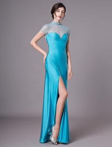 Teal vestido de noite ilusão frisada Prom Dress Jewel pescoço manga curta fenda andar comprimento bainha vestido Milanoo