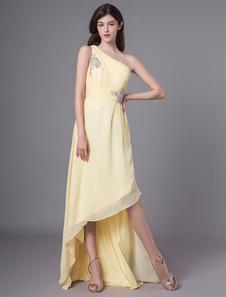 Vestidos de baile daffodil um ombro frisado assimétrico chiffon vestido de dama de honra alta baixa