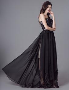 Черные платья выпускного вечера одно плечо шифон витой длиной до пола, вечерние платья