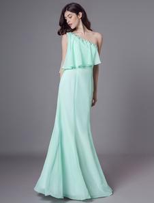 Mint verde vestido de dama de honra com um ombro strass saia de chiffon Milanoo