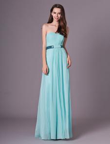 Mint verde vestido de dama de honra querida ruched chiffon a line até o chão vestido de festa de casamento Milanoo