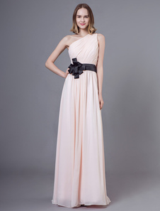 Vestidos De Dama De Honra Longo Chiffon De Um Ombro Nuas Arcos Até O Chão Vestido De Festa De Casamento