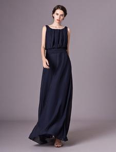 Comprimento de assoalho ocasional plissado vestido de noite de cetim