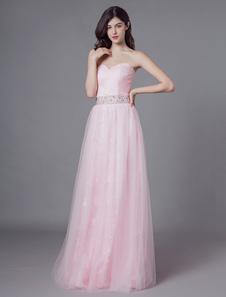 Vestidos de baile Longo Tule Rosa Suave Strapless Beading Maxi Vestido de Festa Formal