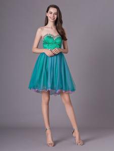 Vestidos Homecoming Strapless Prom Vestido Curto Strass Frisada Querida Pescoço Organza vestido de formatura