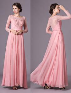 Corando Rosa Vestido De Noite Até O Chão Lace Chiffon Com Colher Pescoço Mangas Compridas Vestidos Formais Milanoo