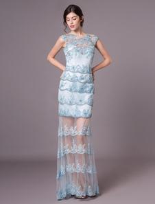 Vestidos De Noite De Renda Formal Pastel Azul Ilusão Beaded Bainha Longo Prom Vestido