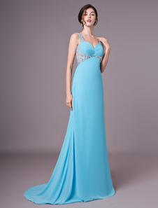 O baile de finalistas longos do Chifon do Aqua dos vestidos do baile de finalistas cortou vestidos de noite formais com trem