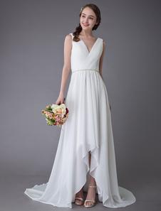 فساتين زفاف الشاطئ عام 2020الشيفون الخامس الرقبة ارتفاع منخفض شاح الصيف فستان الزفاف