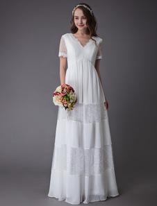 Vestidos De Noiva Boho 2020 Rendas Chiffon Retalhos Marfim Manga Curta Gypsy Maxi Praia Vestidos De Noiva