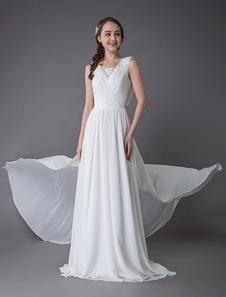 Пляжные свадебные платья шифон слоновая кость v-образным вырезом капюшоном назад летние пляжные свадебные платья