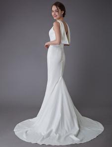Свадебные платья Слоновая кость Оболочка Простое свадебное платье Клобук Назад Пляжные свадебные платья с шлейфом