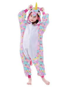 Kid Kigurumi Pajama Star Unicorn Easy Туалетные Розовые фланелевые комбинезоны Хэллоуин