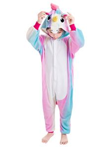 Kid Kigurumi Pajama Rainbow Unicorn Легкий туалетный фланелевый комбинезон Хэллоуин