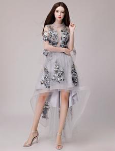 Коктейльные платья Кружевная аппликация Асимметричное выпускное платье из тюля