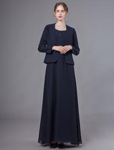 Платья для матери невесты Темно-синие платья из бисера Куртка Шифоновое свадебное платье